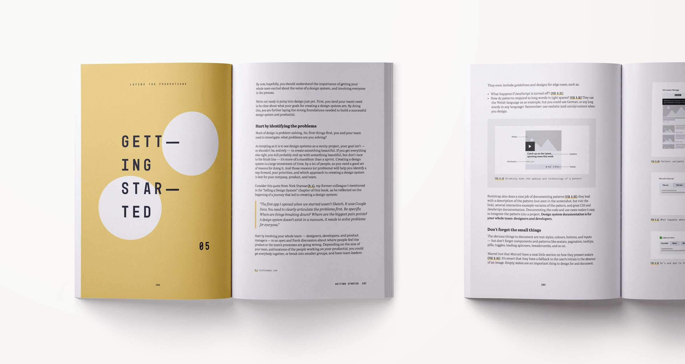 A design systems book spread showing content related to getting started with design systems