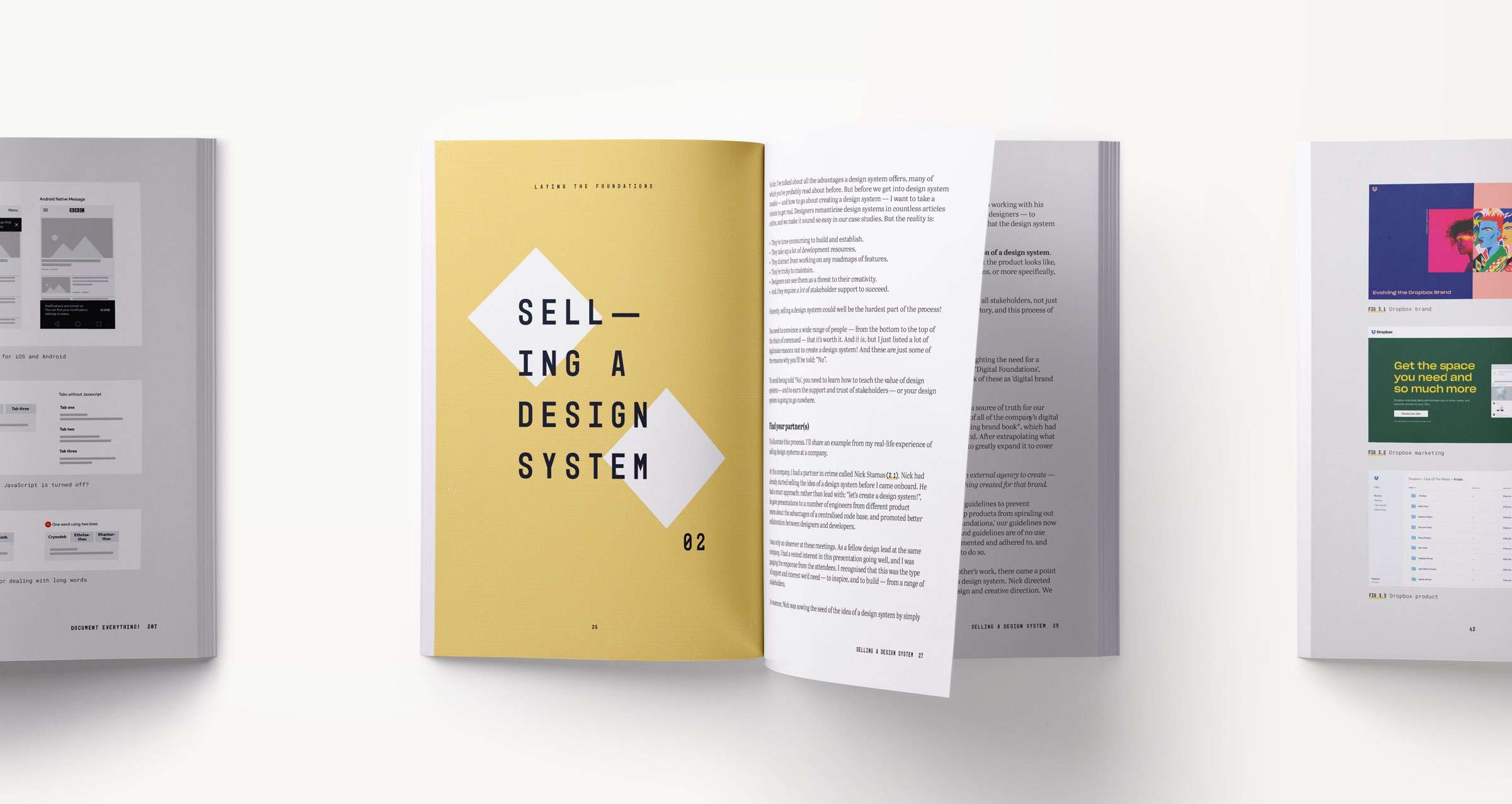 A design systems book spread showing content related to selling a design system at your company and within your design team and organisation