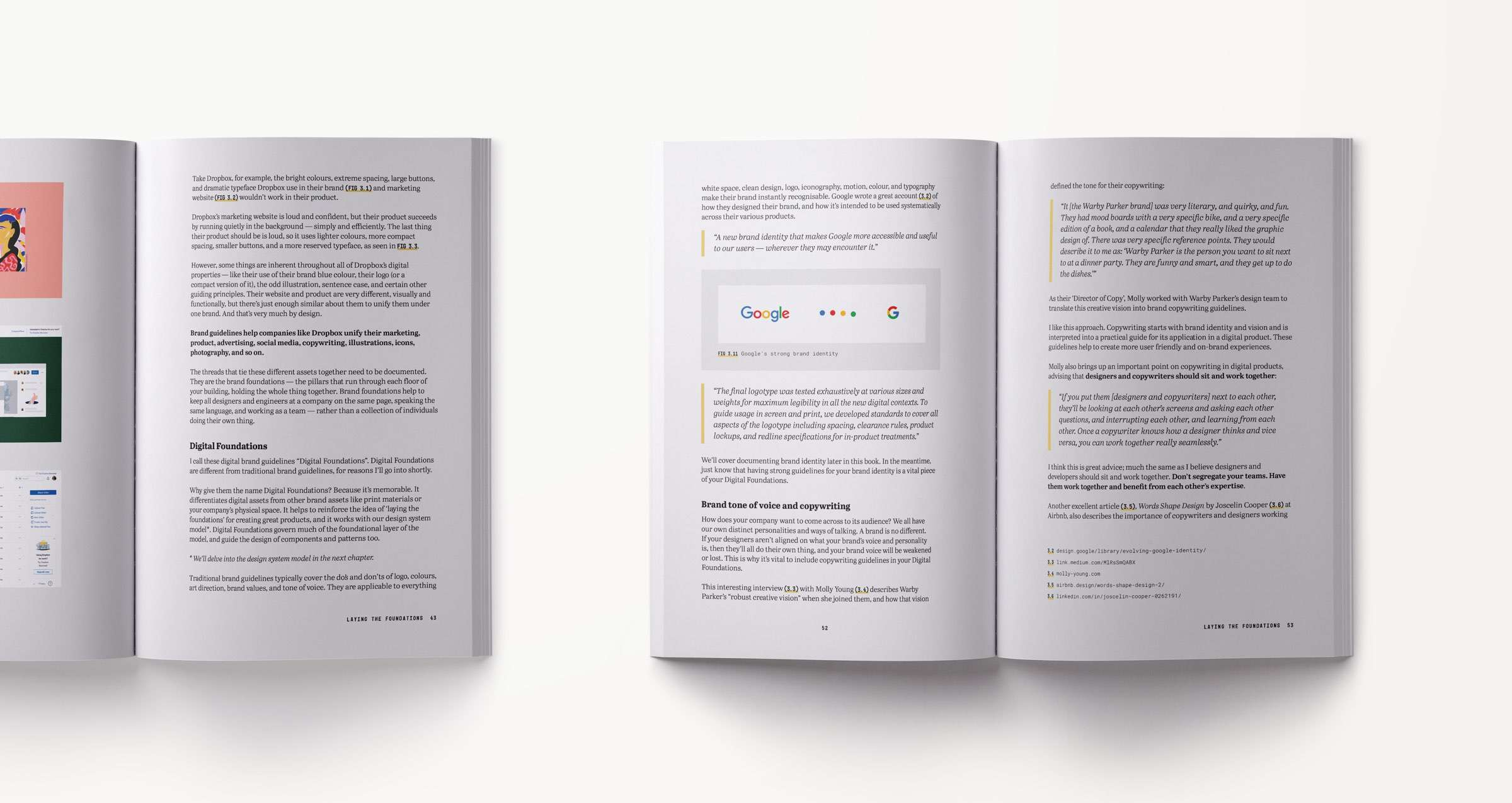 A design systems book spread showing content related to creating digital brand guidelines including brand tone of voice and copywriting